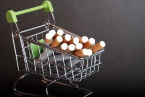cigarettes in a mini shopping trolley