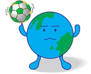 concept world holding a football
