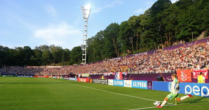 corner taken in womens football match