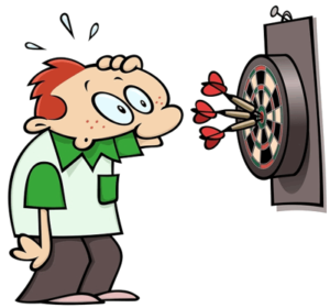 darts player cartoon graphic