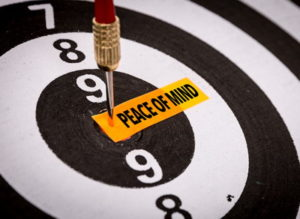 dart in board with peace of mind note