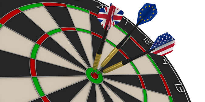 darts baord with uk eu and usa flags as the flights
