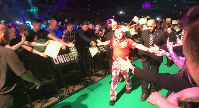 darts premier league peter wright walking onto stage
