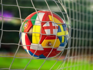 euro 2020 football hitting the back of the net