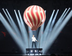 eurovision song contest performer in a ballon