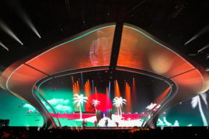 eurovision song contest performers on stage with backdrop