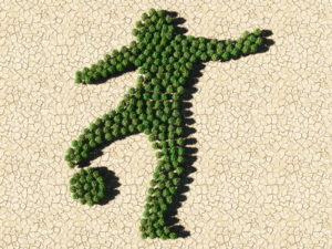 football player outline made from trees against barren background
