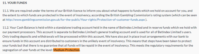 football index deposit protection