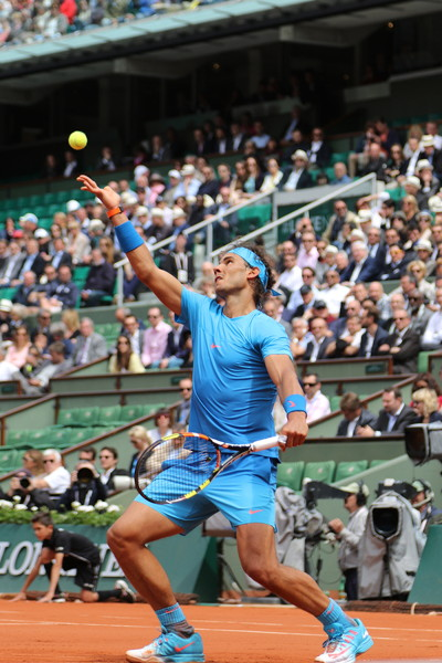 french open rafa nadal serving