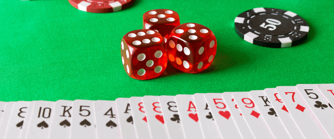games selection of dice chips and cards