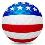 golf ball with usa flag painted on