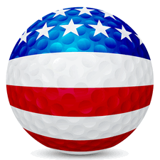 golf ball with usa flag painted on