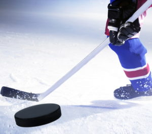 ice hockey puck and player