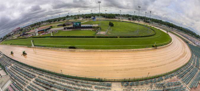 kentucky derby churchill downs view form stands through fish eye lens