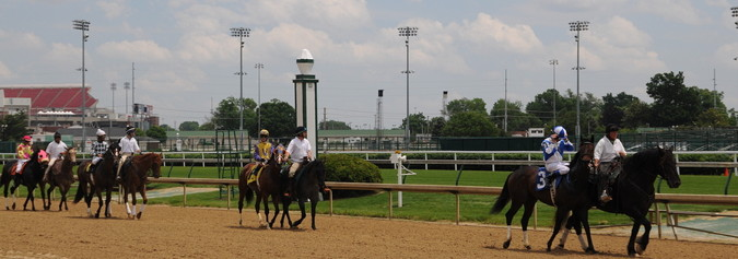 kentucky derby horses walking to starting positiosn