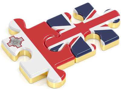 malta and uk puzzle pieces