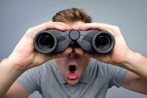 Man Binoculars Observation