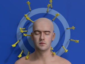man mediating up against dart board with darts all around