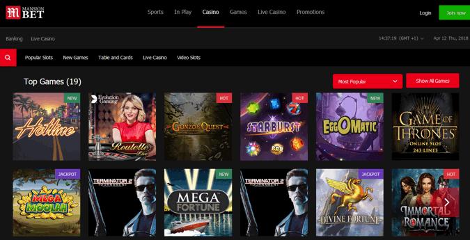 mansionbet casino screenshot