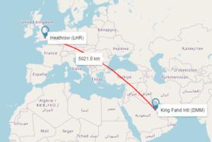map showing distance london to saudi arabia