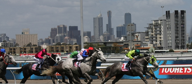 Melbourne cup horses running with skyline as the back drop