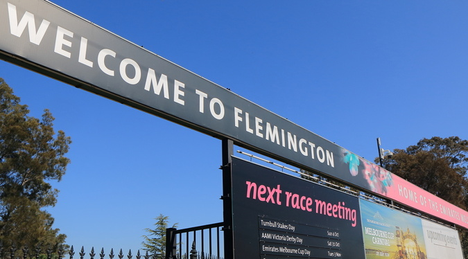 melbourne cup welcome to flemington sign