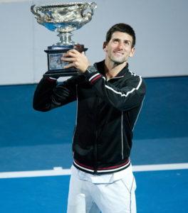 novak djokovic with australian open trophy