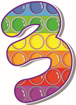 number 3 colourful