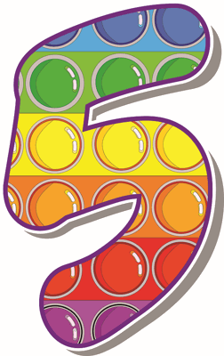 number 5 colourful
