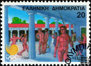 olympic games ancient greece stamp from 1988