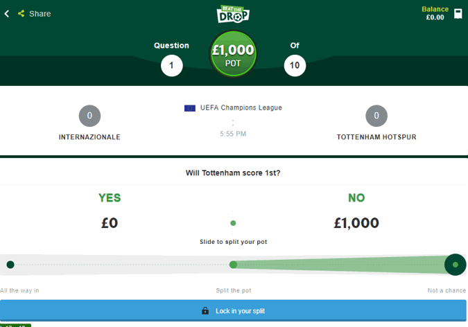 Paddy Power Beat The Drop – Answer 10 Questions Win £1,000, 30 Days