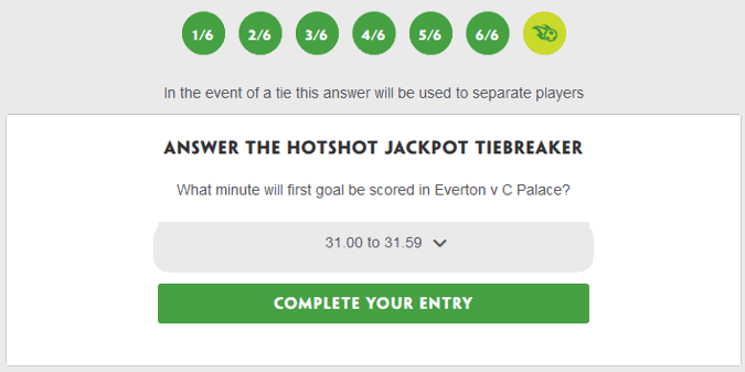 paddy power hotshot jackpot tiebreaker question