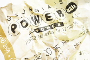 powerball lottery ticket scrunched up