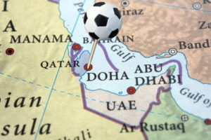 qatar world cup 2022 map with football pin