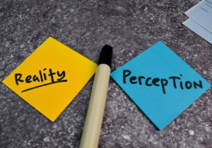reality perception written on post it notes