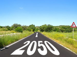 road with 2050 and arrow written on it