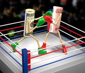 rolls of money fight in boxing arena