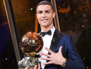 ronaldo with fifth ballon dor