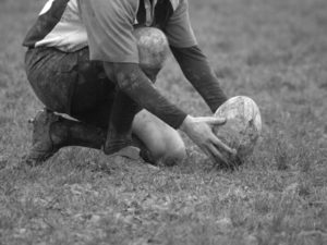 rugby player ready to kick a conversion