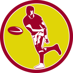 rugby player throwing ball icon