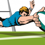 rugby player try graphic