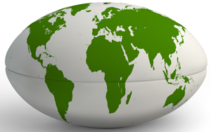 rugby ball with world map