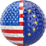 ryder cup us europe golf ball with split flag