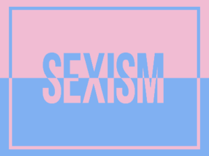 sexism on pink and blue background