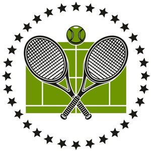 tennis court and rackets