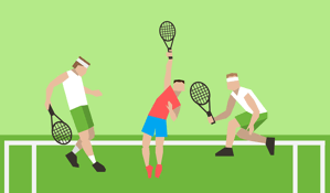 tennis players on grass