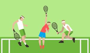 tennis players on grass