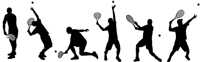 tennis player silhouettes of various play positions