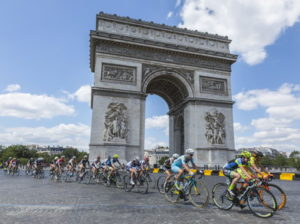 tour de france riders along the champs elysees