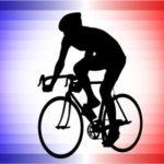 tour de france silhouette rider against french flag